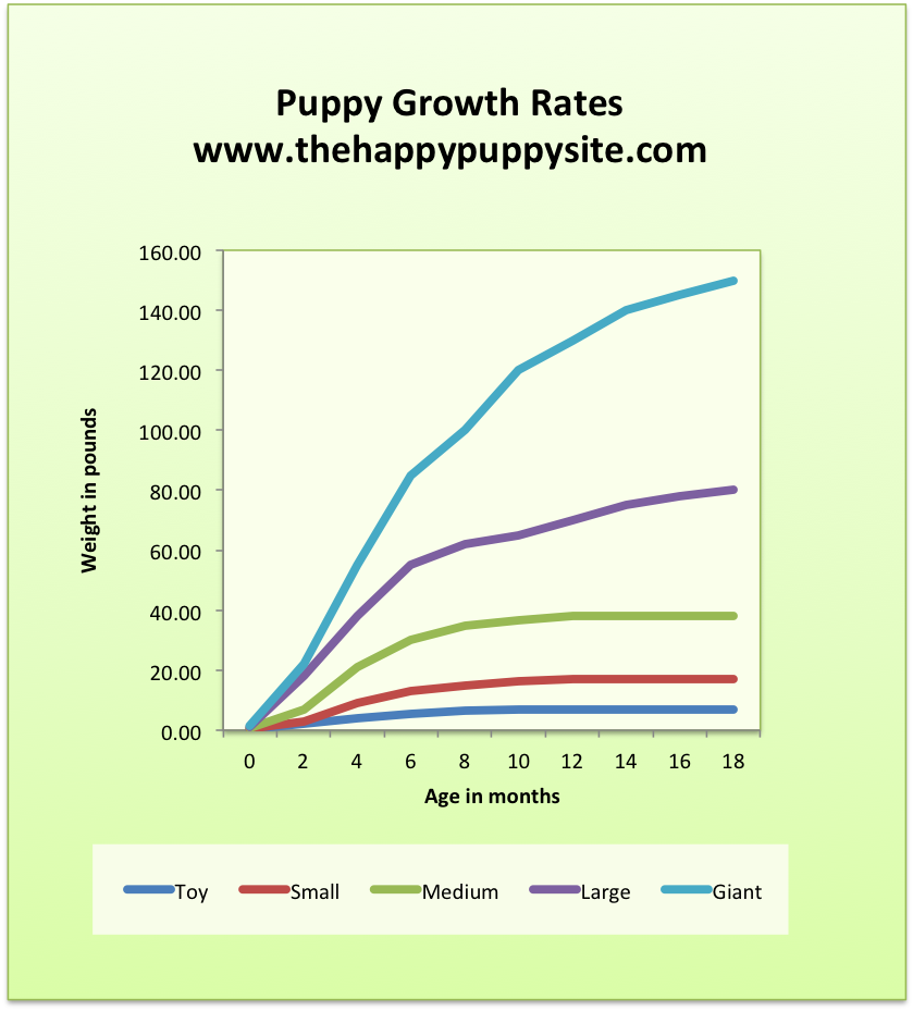 Puppy growth and dog weight chart