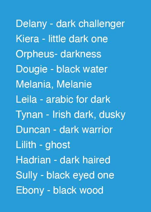 Delany - dark challenger Kieran / Kiera - little dark one Orpheus- darkness Douglas, Dougie - black water Melania, Melanie Leila - arabic for dark Tynan - Irish dark, dusky Duncan - dark warrior Lilith - ghost Hadrian - dark haired Sully - sullivan, black eyed one Ebony - black wood
